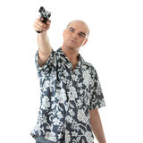 Men with gun. Isolated on white Royalty Free Stock Images
