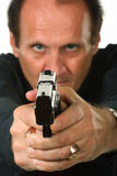Men with gun. Beautiful photo of a man on a white background Royalty Free Stock Image