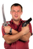 Men with gun and sabre Stock Photography