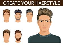 Men hair style symbol beard, mustache beard hipster men. Vector illustration Royalty Free Stock Photos