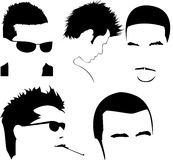 Men haircut vector collection. Vector collection of men's different haircuts Royalty Free Stock Image