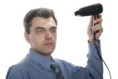 Men with hairdryer Royalty Free Stock Image