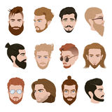 Men Hairstyle Collection. With beards moustache glasses of different colors vector illustration vector illustration