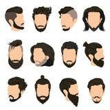 Men Hairstyle Icons Set Stock Photo