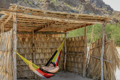 Man relaxing. Tourist man relaxes on a hammock. A Conception Baja, California Sur, Mexico Stock Photo