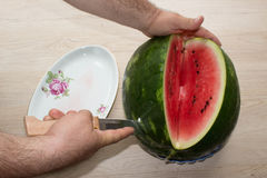 Men hand hold from on fresh watermelon cutting for eatin on table background Stock Photo