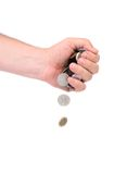 Men hand pour down coins Stock Photography