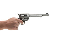 Men hand with revolver pistol Royalty Free Stock Image