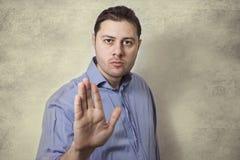 Men hand signaling stop Royalty Free Stock Image