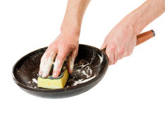 Men hand wash with a sponge pan Royalty Free Stock Photos