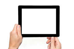 Men hands hold a tablet computer Royalty Free Stock Photos