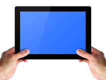 Men hands hold a tablet touch computer. Men hands hold a tablet touch pad computer on white royalty free stock photography