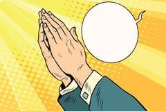 Men hands in prayer Royalty Free Stock Photos