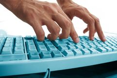 Men hands typing Stock Photography