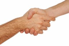Men Handshake. On a light background Royalty Free Stock Photography