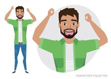 The men is happy and smiling. vector illustration