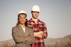 Men in hardhats Stock Images