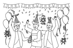 Isolated men in celebration design. Men with hat design, happy birthday celebration decoration party festive and surprise theme Vector illustration royalty free illustration