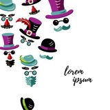 Men with hats, mustaches and beards royalty free illustration