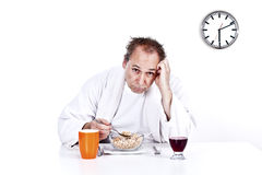 Men having breakfast cereal Stock Photography
