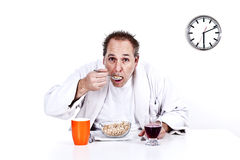Men having breakfast cereal Stock Photos