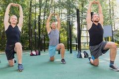 Men having calisthenics workout. Handsome atheltic men having calisthenics workout in park royalty free stock image