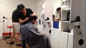 Men having an haircut Royalty Free Stock Image