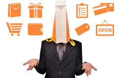 Men head covered with shopping Royalty Free Stock Image