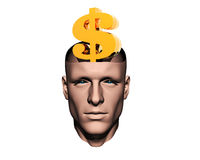 Men head with golden us dollar sign Stock Image