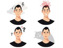 Men head with mental illness, disorders, impairments, psychiatric or psychological problems. Set of four men head with mental illness, disorders, impairments vector illustration