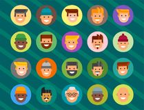 Men head portrait different nationality friendship character team happy people young guy person vector illustration. Stock Image