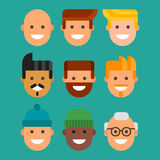 Men head portrait different nationality friendship character team happy people young guy person vector illustration. Royalty Free Stock Photo