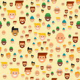 Men head portrait seamless pattern friendship character team happy people young guy person vector illustration. Handsome teamwork casual fashion friends Stock Image