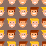 Men head portrait seamless pattern friendship character team happy people young guy person vector illustration. Royalty Free Stock Photography
