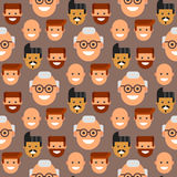 Men head portrait seamless pattern friendship character team happy people young guy person vector illustration. Handsome teamwork casual fashion friends Royalty Free Stock Photos