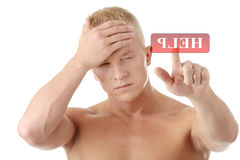 Men with headache or migraine Stock Images