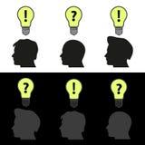 Men heads with light bulb idea symbols Stock Photo