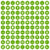 100 men health icons hexagon green. 100 men health icons set in green hexagon isolated vector illustration Stock Photography