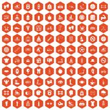 100 men health icons hexagon orange. 100 men health icons set in orange hexagon isolated vector illustration Royalty Free Stock Photos