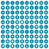 100 men health icons sapphirine violet. 100 men health icons set in sapphirine hexagon isolated vector illustration Stock Photography