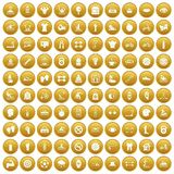100 men health icons set gold. 100 men health icons set in gold circle isolated on white vector illustration Royalty Free Stock Images