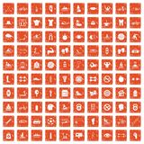 100 men health icons set grunge orange. 100 men health icons set in grunge style orange color isolated on white background vector illustration Stock Photography