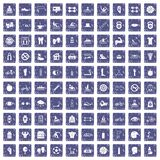 100 men health icons set grunge sapphire. 100 men health icons set in grunge style sapphire color isolated on white background vector illustration Royalty Free Stock Image
