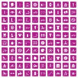 100 men health icons set grunge pink. 100 men health icons set in grunge style pink color isolated on white background vector illustration Royalty Free Stock Photo