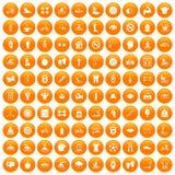 100 men health icons set orange. 100 men health icons set in orange circle isolated on white vector illustration vector illustration