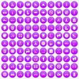 100 men health icons set purple. 100 men health icons set in purple circle isolated on white vector illustration Royalty Free Stock Photos