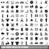100 men health icons set, simple style. 100 men health icons set in simple style for any design illustration vector illustration