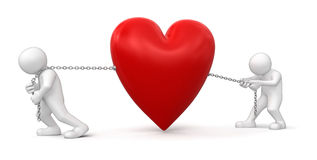 Men and Heart (clipping path included) Stock Photos