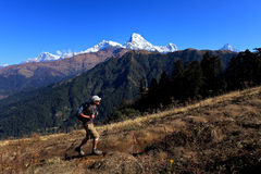 Men Hiker,Himalaya Mountains,Nepal. Royalty Free Stock Image