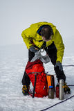 Men Hiking glacier Hvannadalshnukur summit in Iceland mountain landscape Vatnajokull park packing backpack Royalty Free Stock Photos